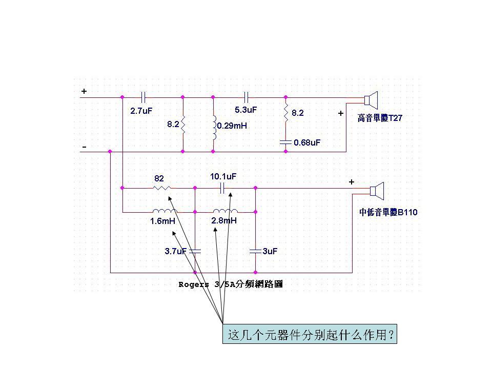 这是一个ls3/5a的分频器电路图,尽管bbc授权生产,规格要求一致,但是