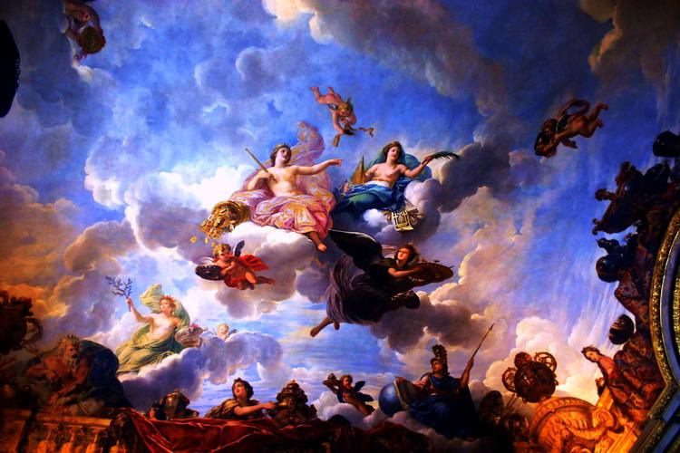 磐石无转移作品:卢浮宫穹顶的壁画
