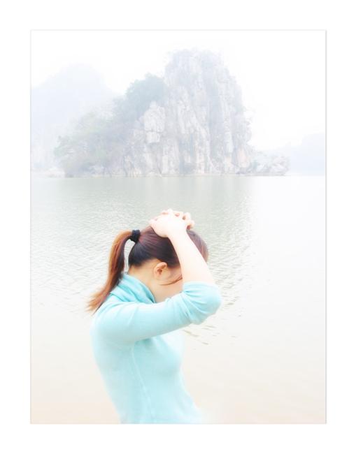 明月松间照摄影作品 山水.女孩
