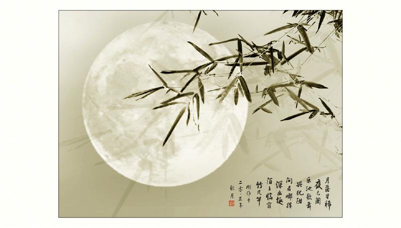 yegang作品:竹影临窗月色幽
