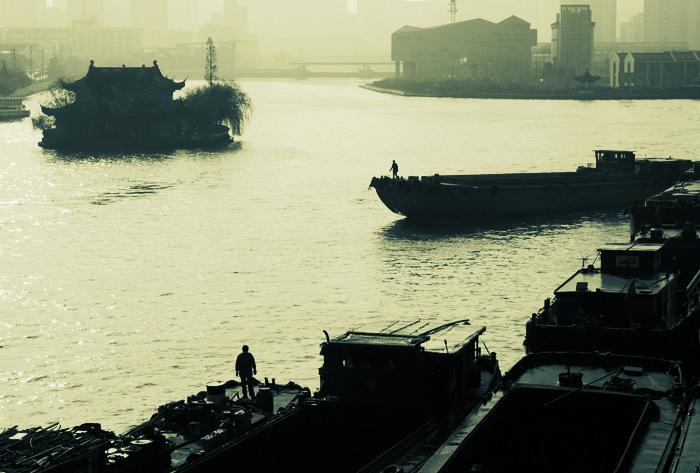 清明上河作品:黄埠墩的早晨