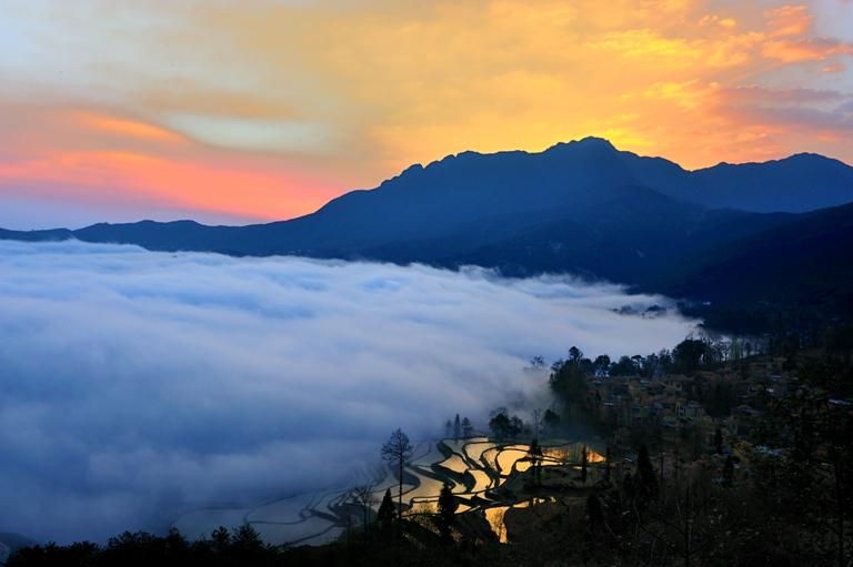 朗摄游作品:晨曦中的梯田