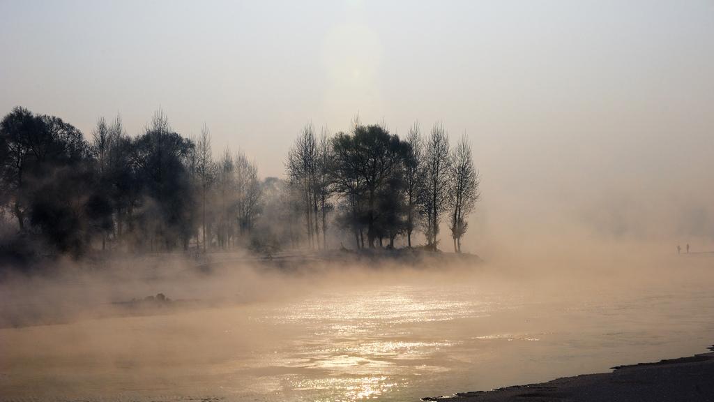 刹车灯作品:雾凇岛的早晨