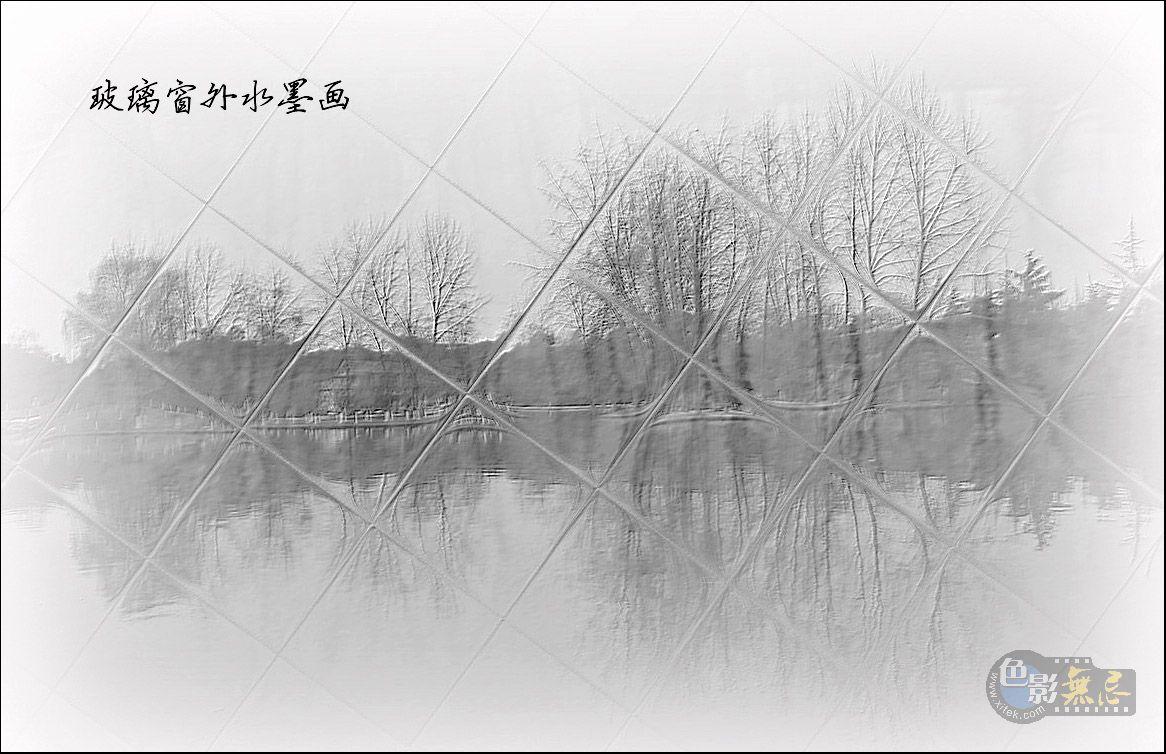 四季春作品:玻璃窗外水墨画