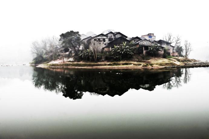 石峰子作品:水墨—唐河古镇