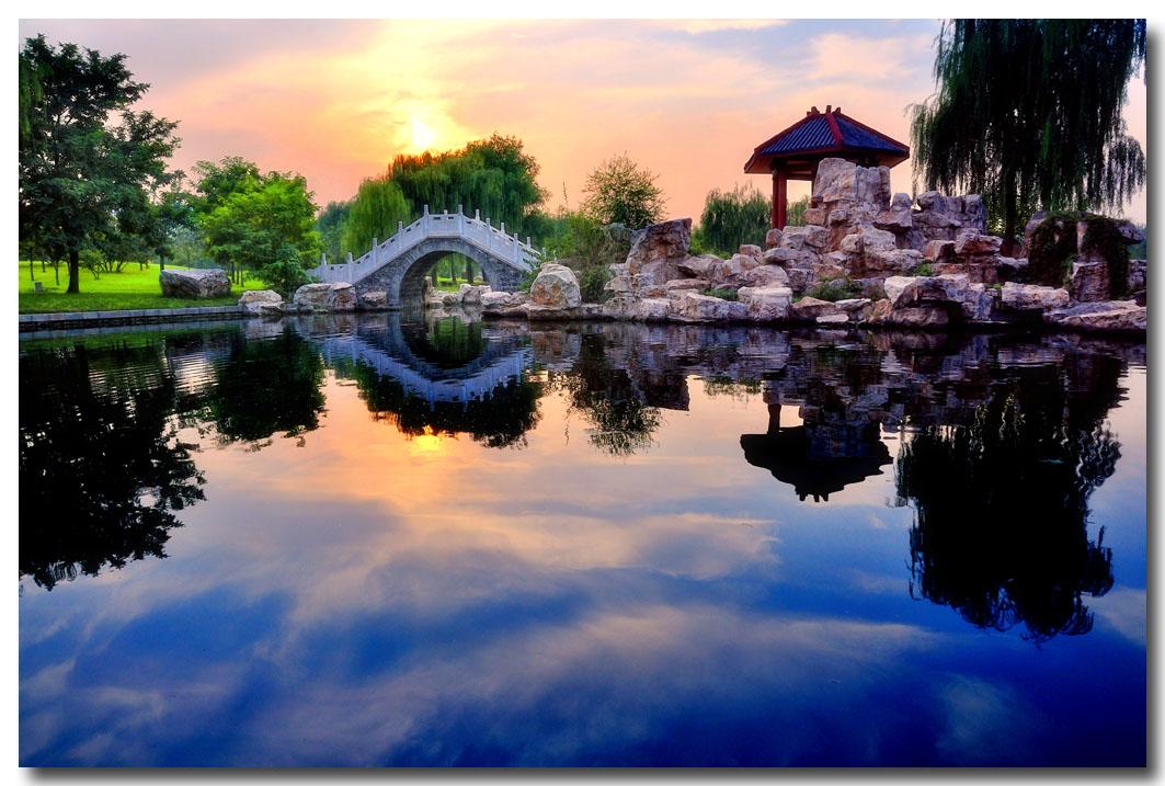 江边鸟作品:夕阳西下