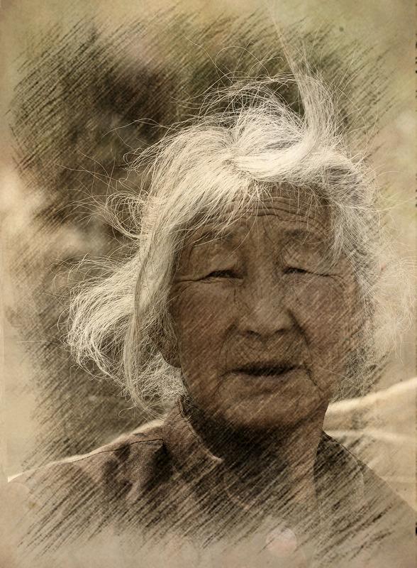99摄影作品 母亲的素描图片