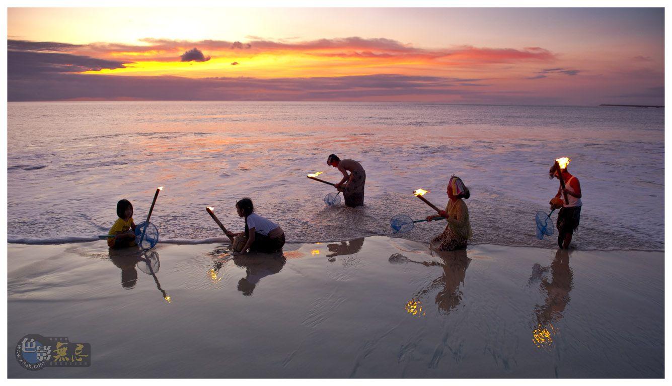关弓作品:日落潮平渔火起