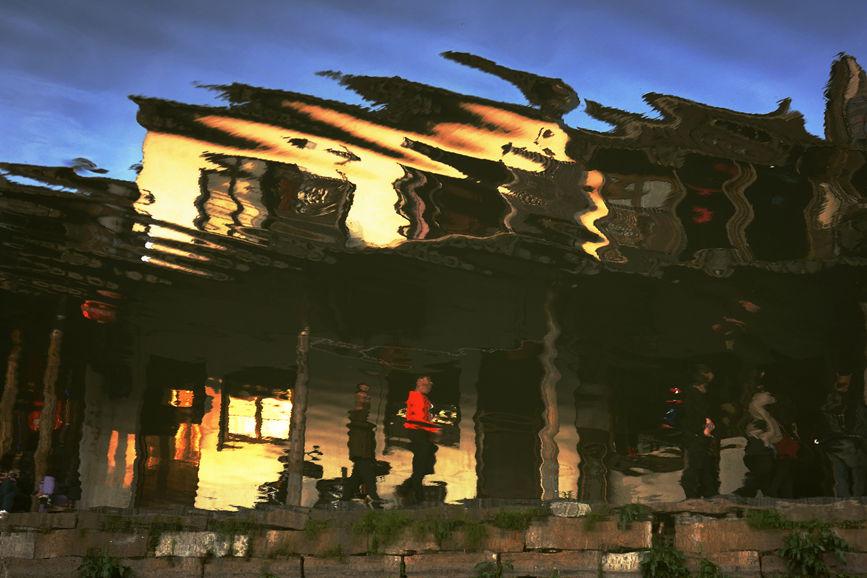 君子兰作品:古镇水中影