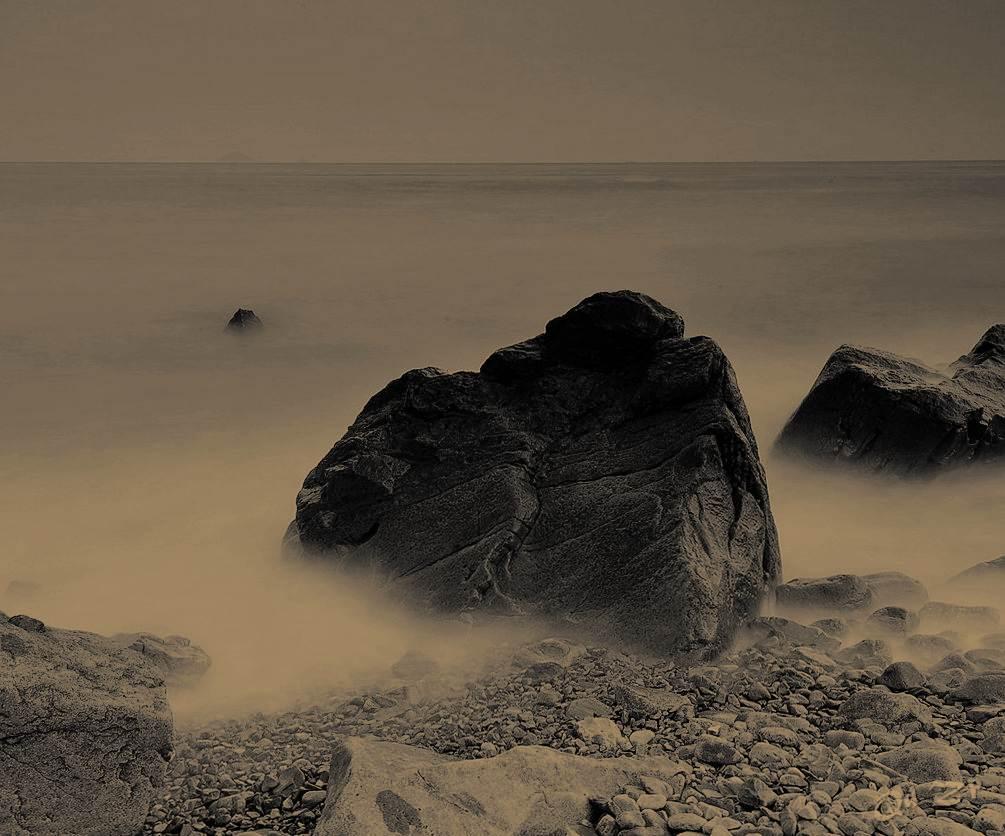 qdll作品:青岛黄昏的海