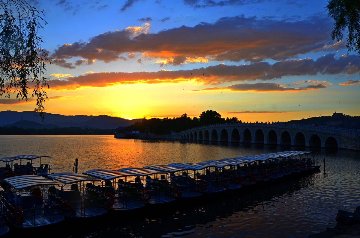啸陆作品:日落昆明湖
