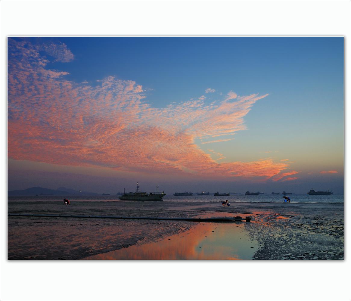 wsz作品:彩霞映海滩