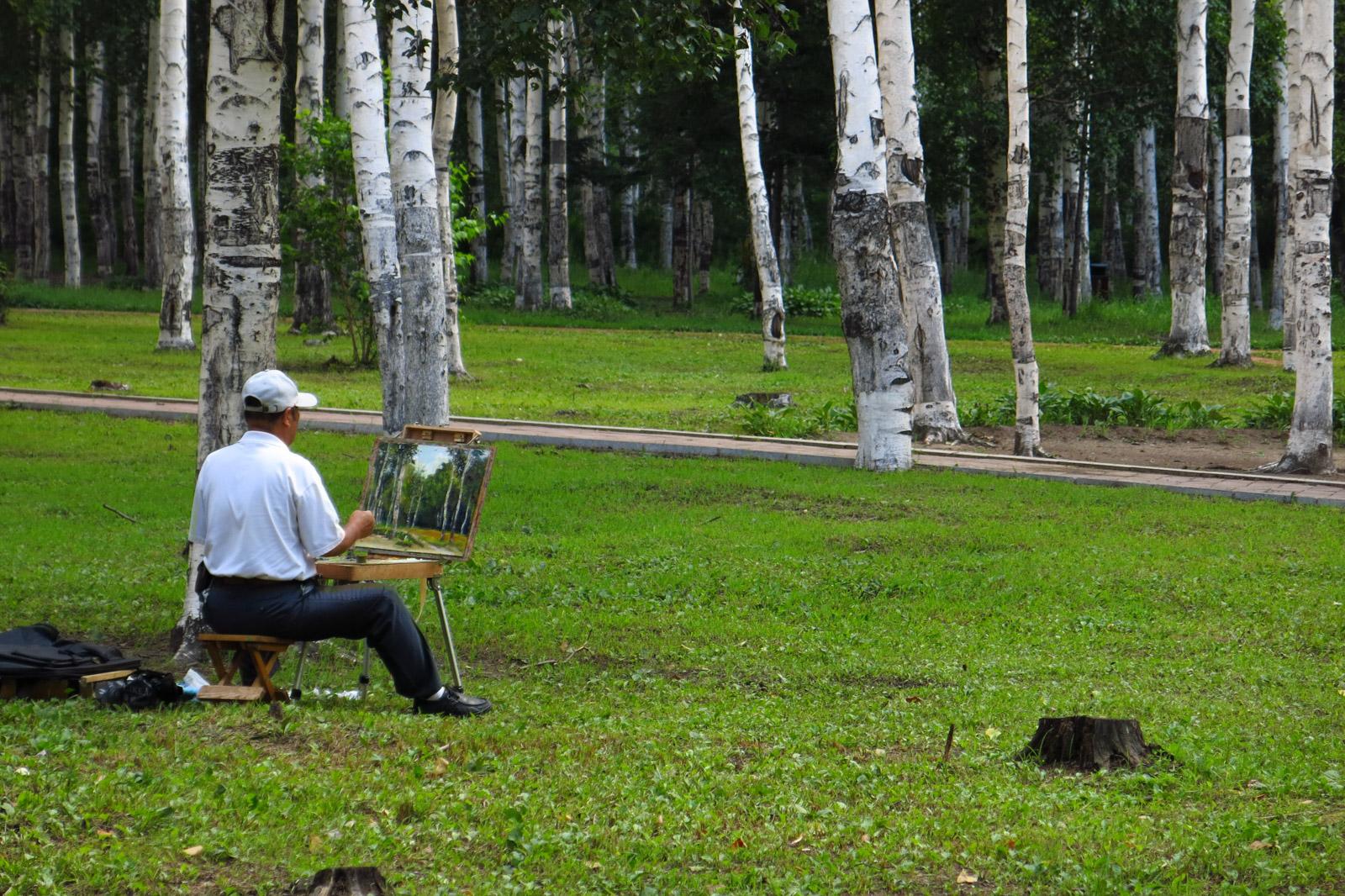 不随大流作品:白桦林和画家