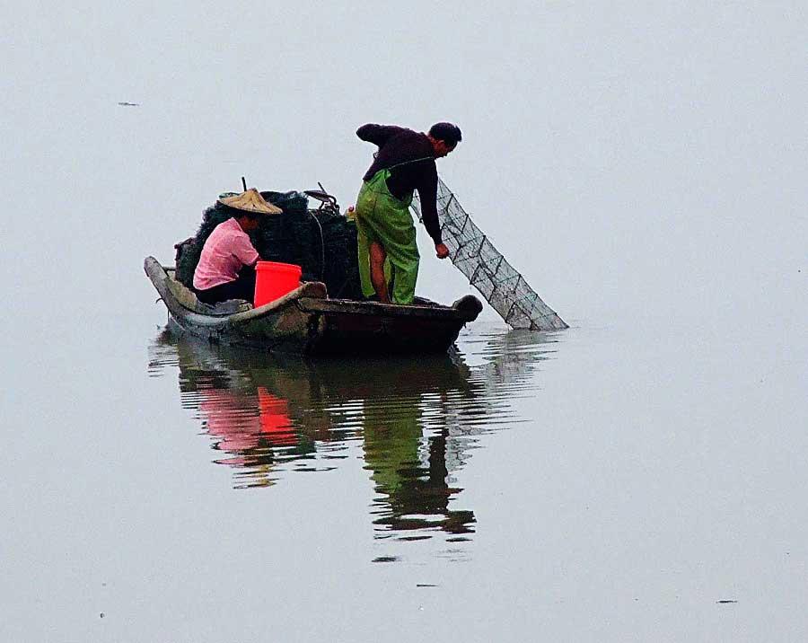 朱宏辉作品:九龙江渔民捕捞