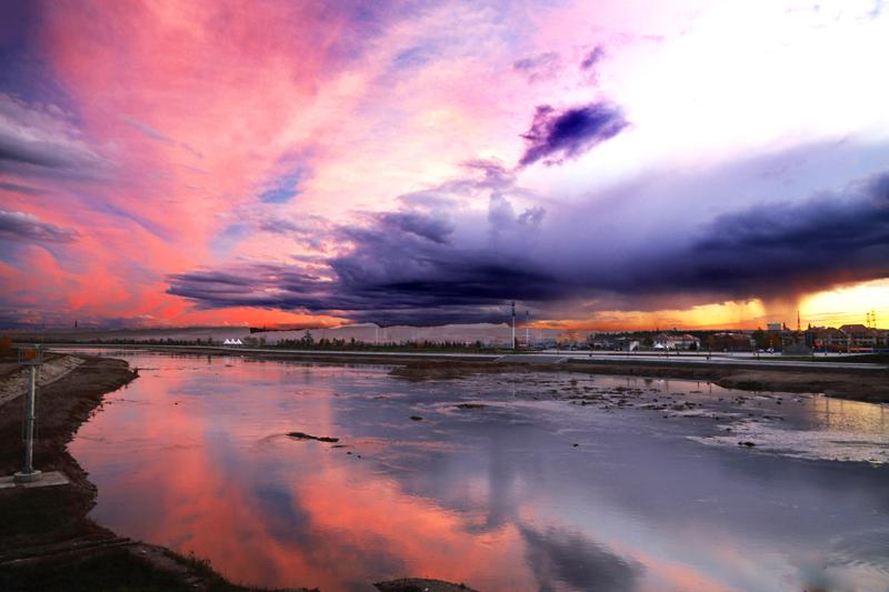 月落风清作品:漠河日落