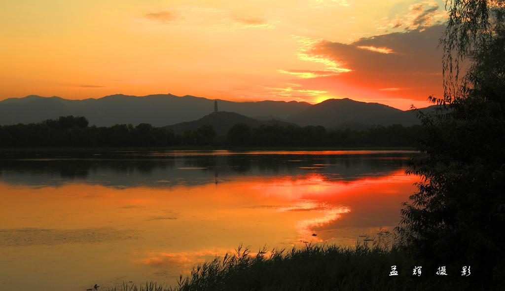 孟辉作品:夕阳玉泉山