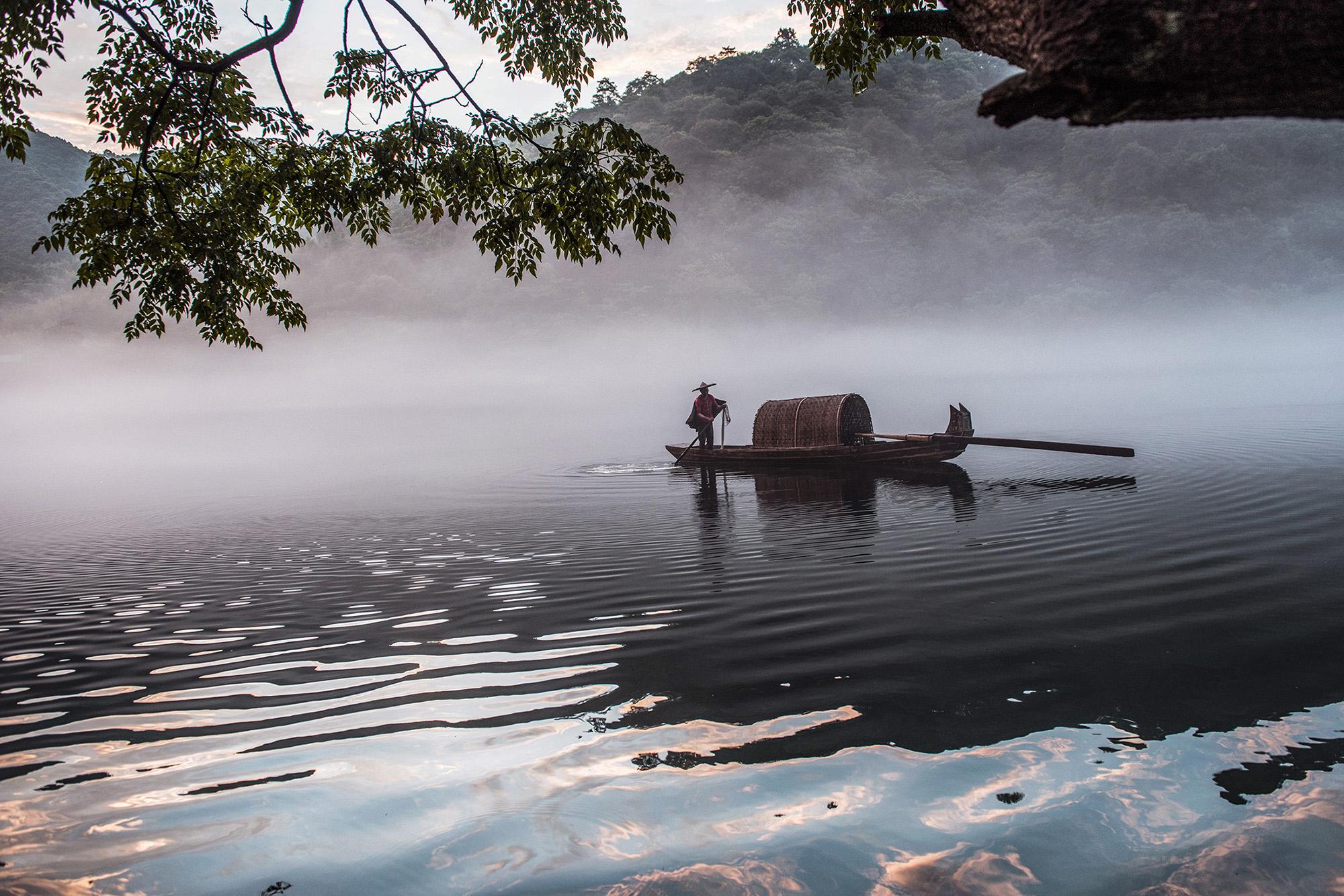 林泉一叟作品:渔舟唱晓