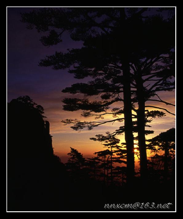 灰白黑作品:黄山日出
