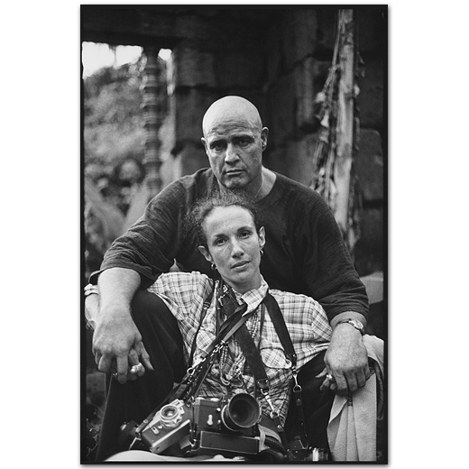 Mary Ellen Mark with Marlon Brando, Apocalypse Now,Pagsanjan, Philippines, 1976 (photo by Stefani Kong Uhler)