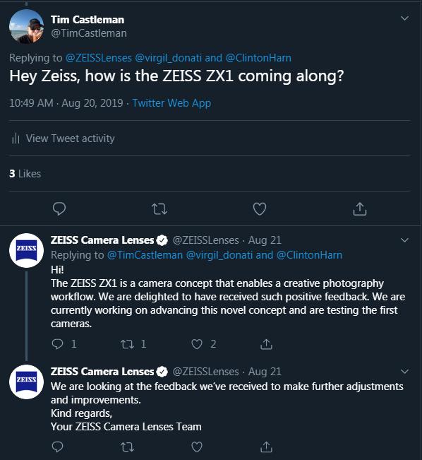 蔡司ZX1仍在改进中